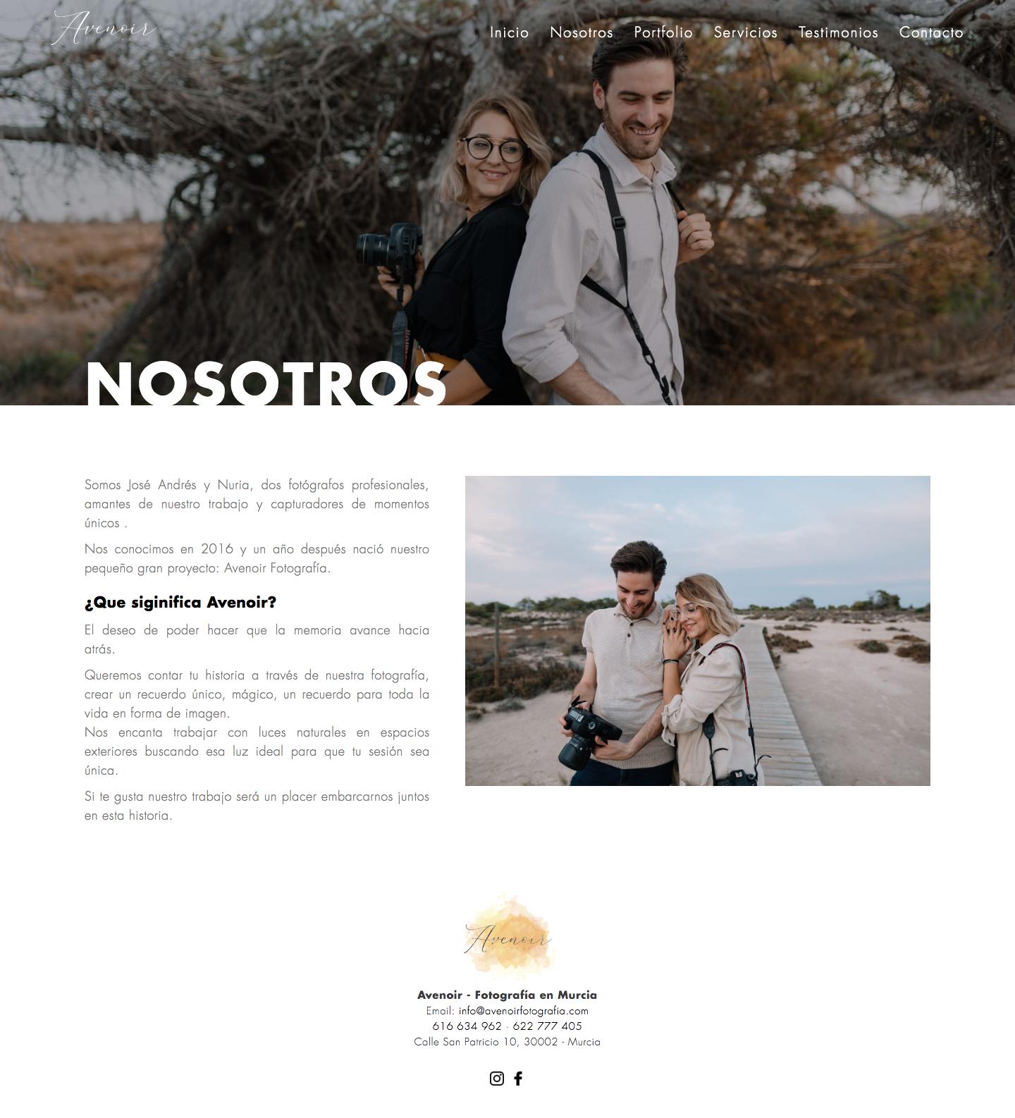 Desarrollo de web corporativa para estudio de Fotografía en Murcia. Diseño web a medida en Murcia, Madrid y Panamá City | Nómadas Comunicación Creativa
