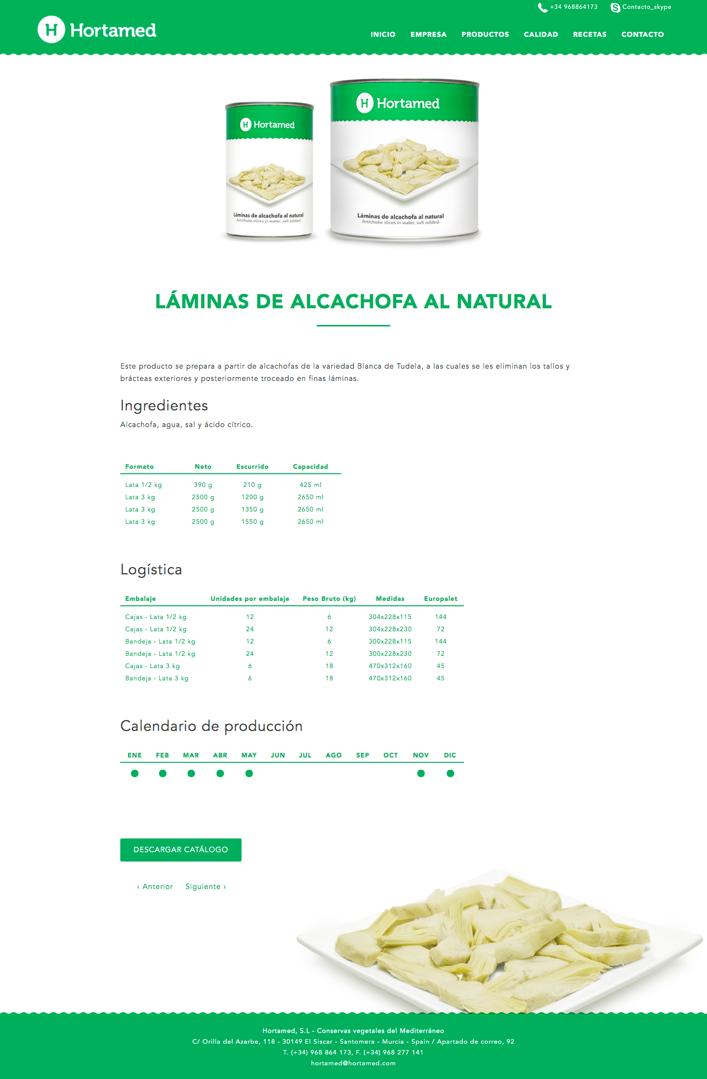 Programación de página web para empresas de alcachofas de Murcia, Madrid y Panamá City | Nómadas Comunicación Creativa