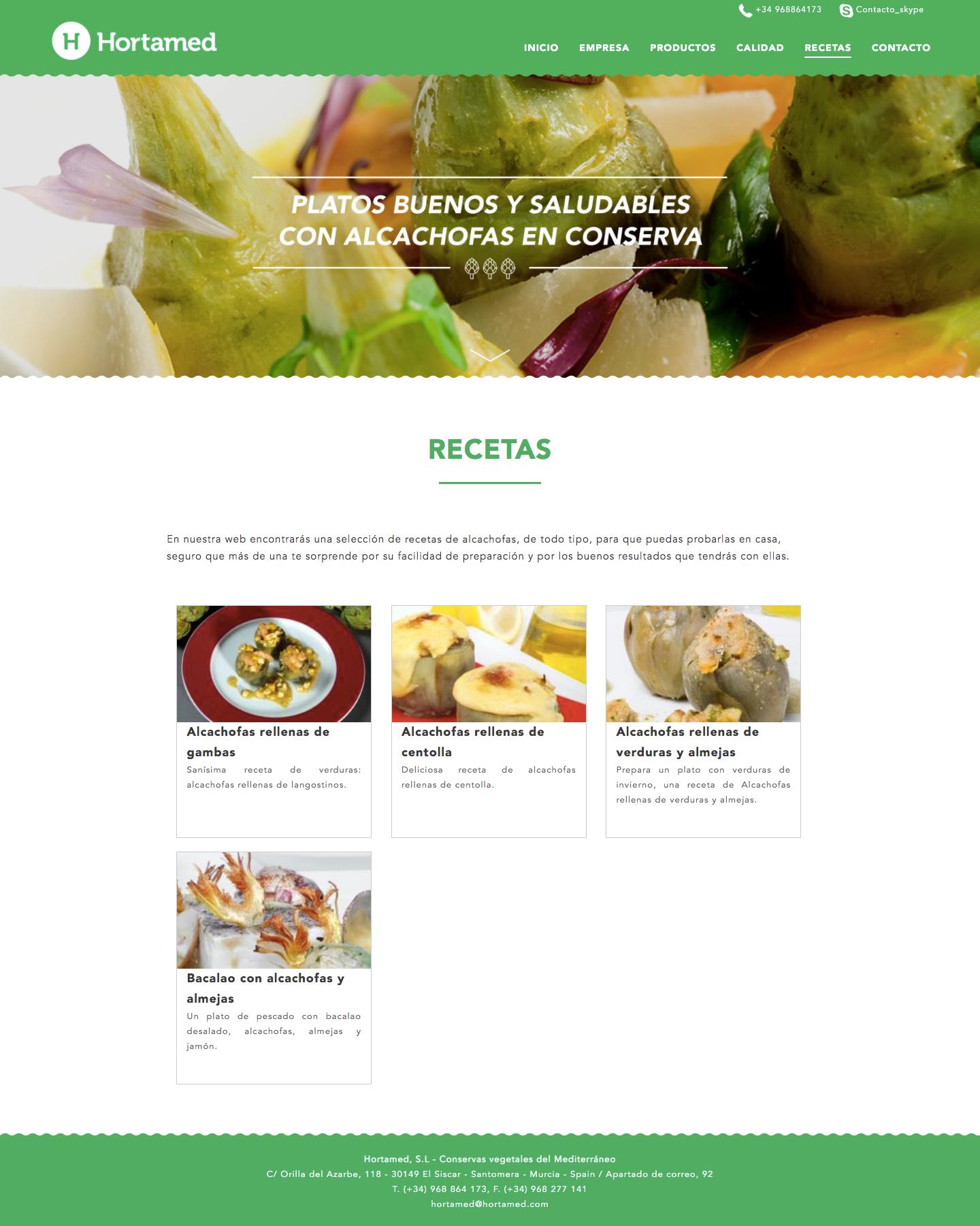 Diseño de página web de conservas en Murcia, Madrid y Panamá City | Nómadas Comunicación Creativa