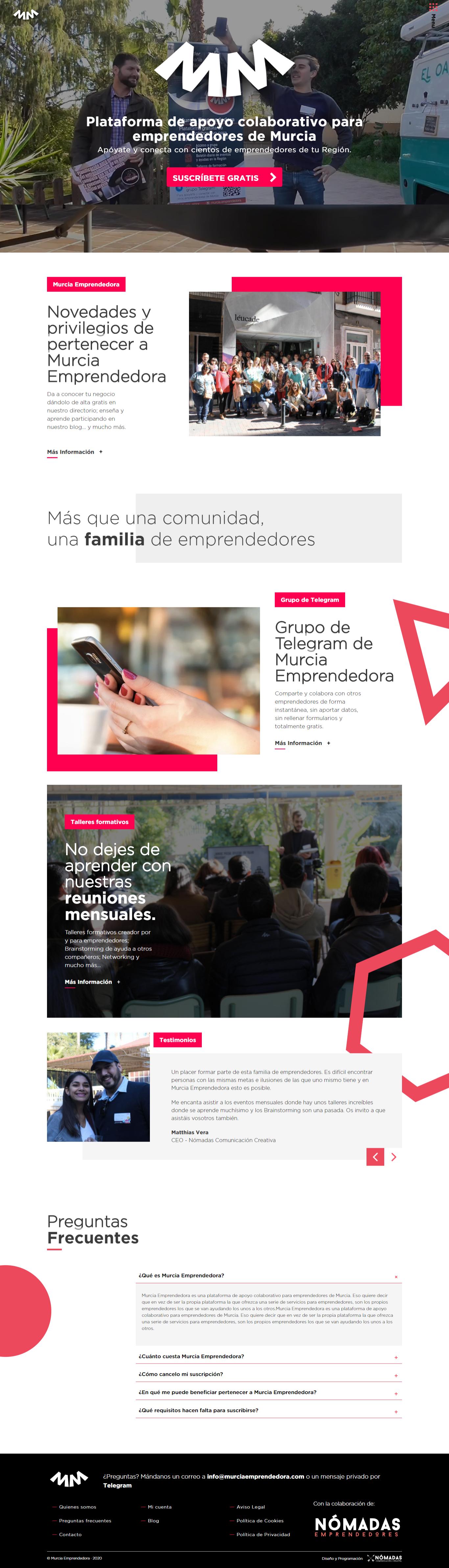 Portal para emprendedores desarrollado con Drupal por un programador freelance en Murcia, Madrid y Panamá City | Nómadas Comunicación Creativa.