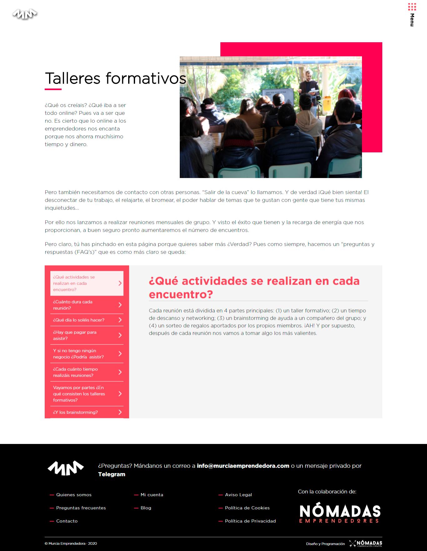 Diseño de Portal de emprendedores en Drupal. Estudio de diseño en Murcia, Madrid y Panamá City | Nómadas Comunicación Creativa