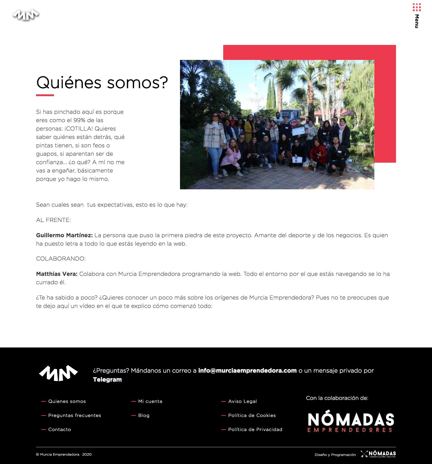 Portal de apoyo a emprendedores desarrollado con Drupal. Agencia de Marketing Digital en Murcia, Madrid y Panamá City | Nómadas Comunicación Creativa