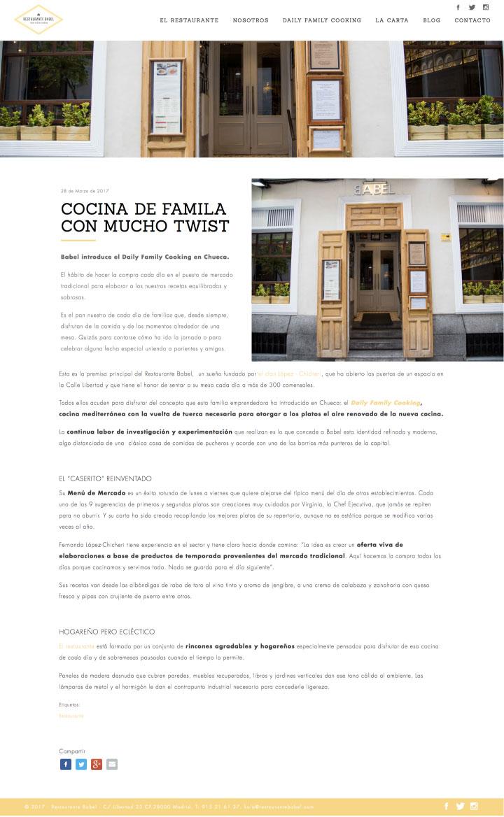Diseño de página web en Drupal para restaurante en Madrid. Estudio de diseño en Murcia, Madrid y Panamá City | Nómadas Comunicación Creativa