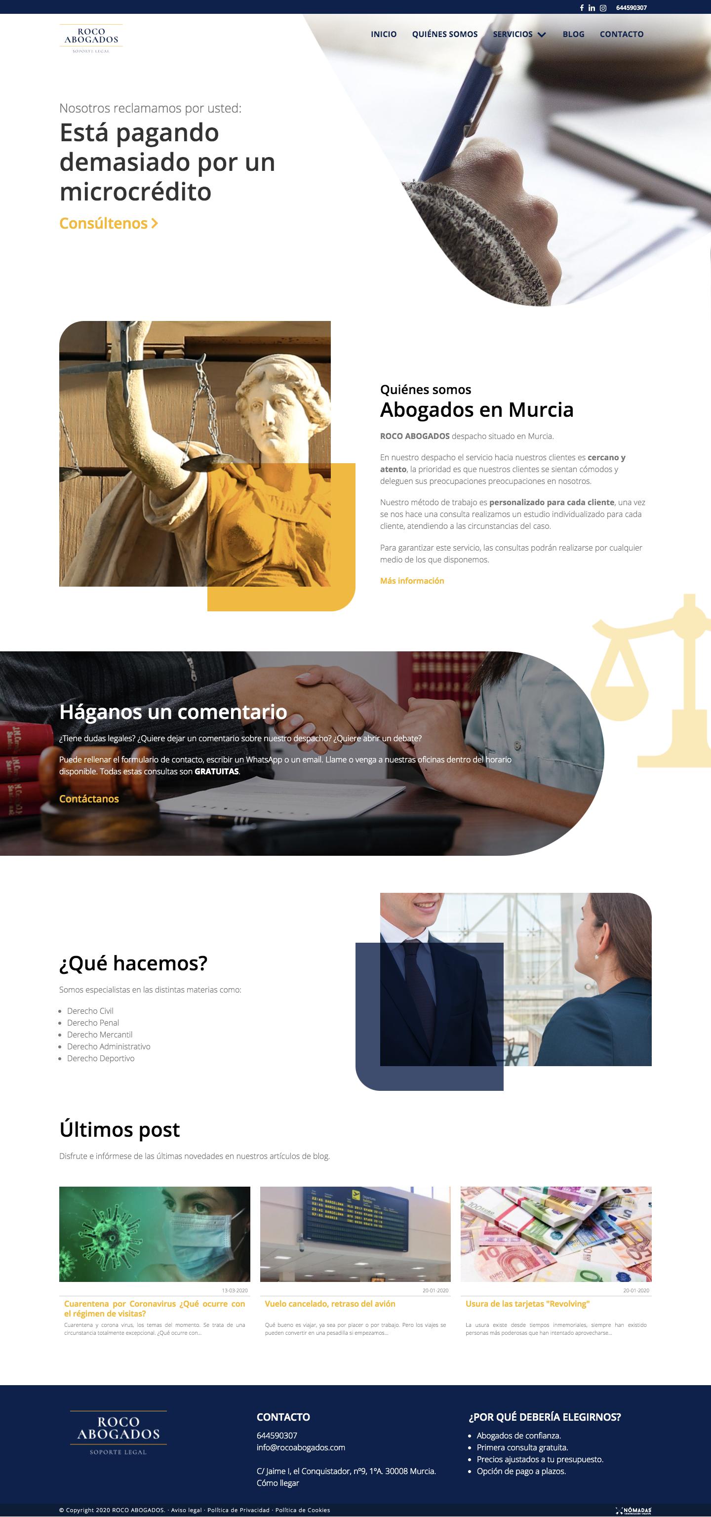 Desarrollado de página web a medida para abogados con Drupal por un programador freelance en Murcia | Nómadas Comunicación Creativa.